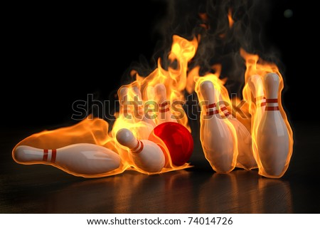 red bowling ball knocks down flaming skittles. 3d illustration. - stock photo