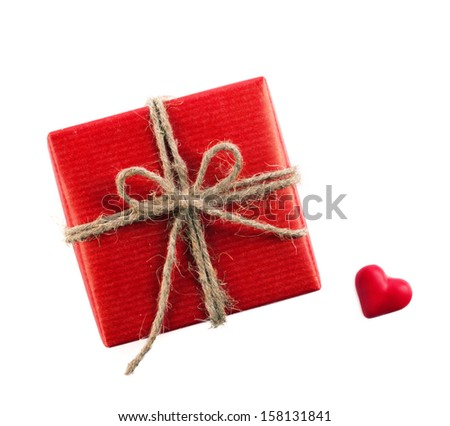 red box and red symbol of heart isolated on white - stock photo