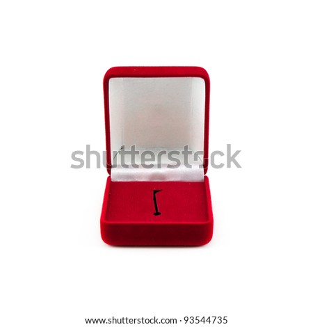 Red box for expensive gifts and decorations isolated on white background - stock photo