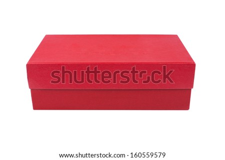 red box for shoes isolated on white background - stock photo