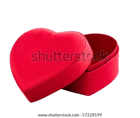 red box in heart shape on white with clipping path - stock photo