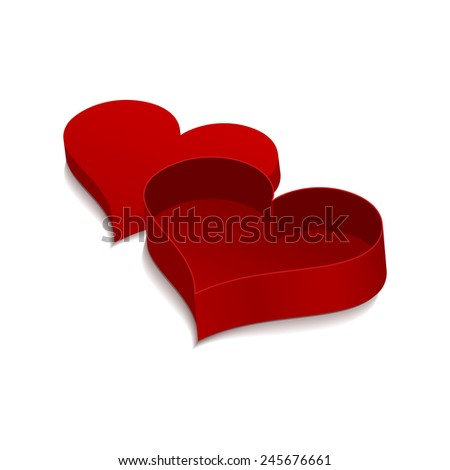 Red box in the shape of heart. 3D isolated object on white background for your design. - stock photo