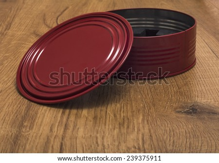 red box on the wooden floor - stock photo