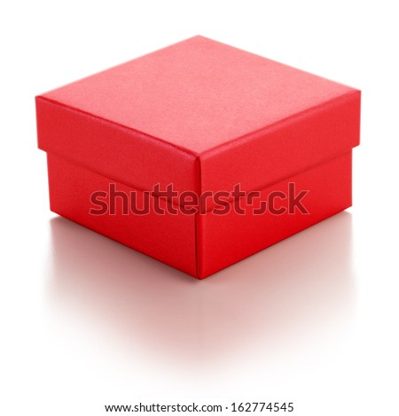 Red Box on White Background - stock photo