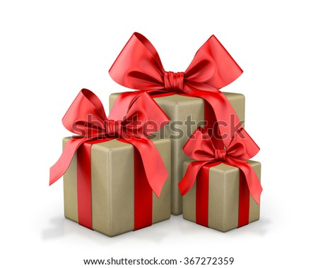red box ribbon bow for christmas, valentine and birthday isolate 3d render