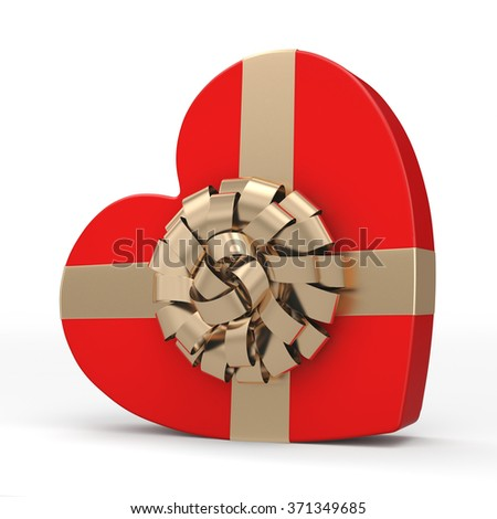 Red box with heart shaped gold ribbon