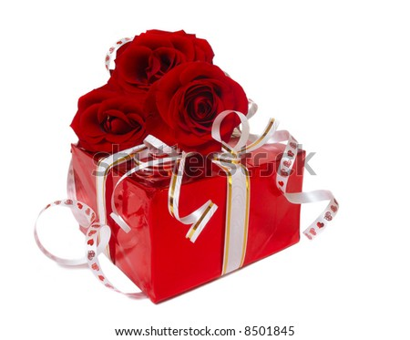 red box with rose