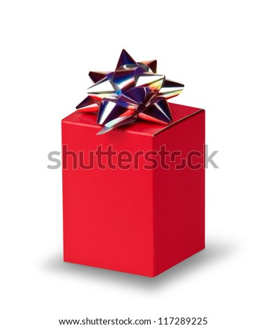 Red box with  silver bow on white with shadow