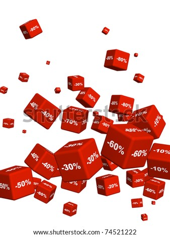 Red boxes with the goods at a discount. Objects isolated over white - stock photo