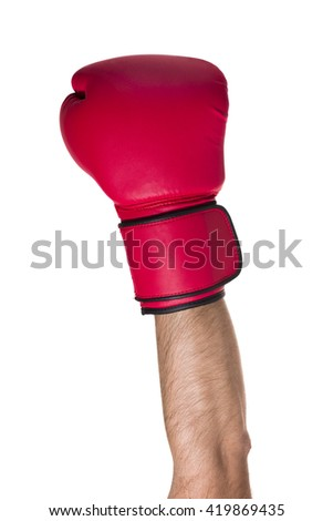 Red boxing glove on a white background. - stock photo