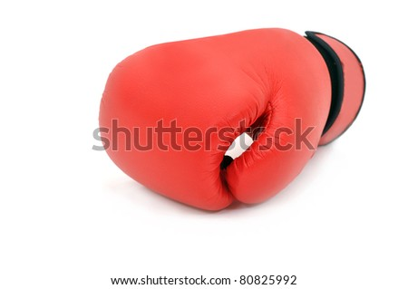 Red boxing glove on white background - stock photo