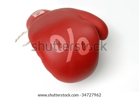 Red boxing glove with percent-sign - stock photo