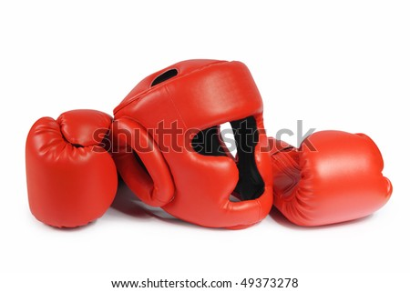 Red boxing-gloves and helmet on the white background. (isolated)
