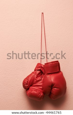 Red boxing gloves hanging over wall.