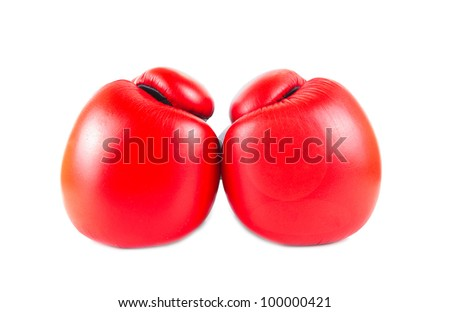 Red boxing gloves isolated on white background - stock photo