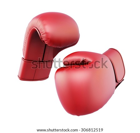 Red boxing gloves isolated  on white background. 3d illustration. - stock photo