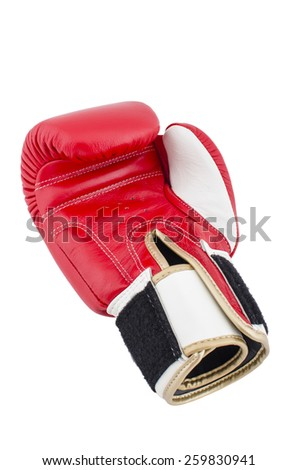 Red boxing gloves on a white background - stock photo