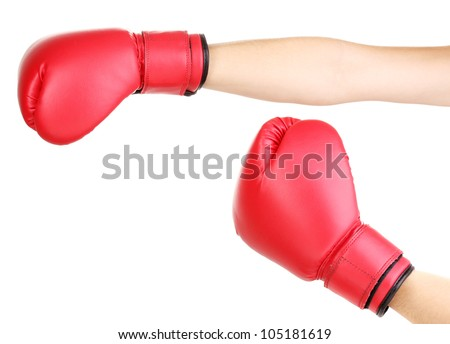Red boxing gloves on hands isolated on white - stock photo