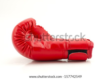 Red boxing gloves on white - stock photo