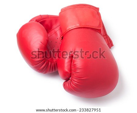 red boxing gloves on white background