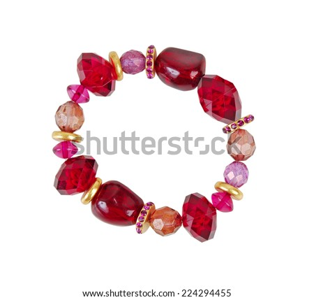 red bracelet isolated on white - stock photo