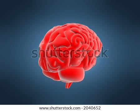 red brain - stock photo