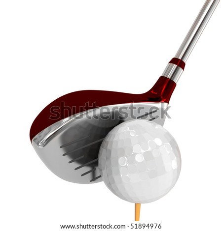 red brassy for golf with a ball - stock photo