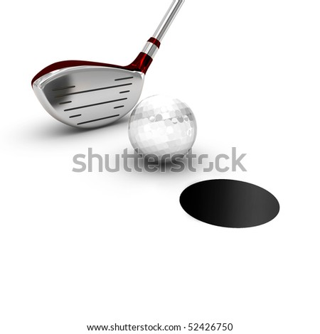 Red brassy for golf with a ball near a black hole - stock photo