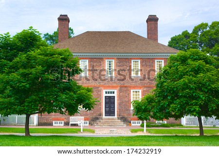 Red brick and architecture of the George Wythe house in Williamsburg  - stock photo