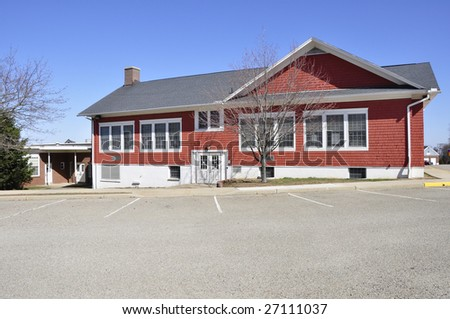 red brick elementary school in Harmony, New Jersey - stock photo