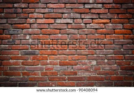 red brick grunge wall background - stock photo