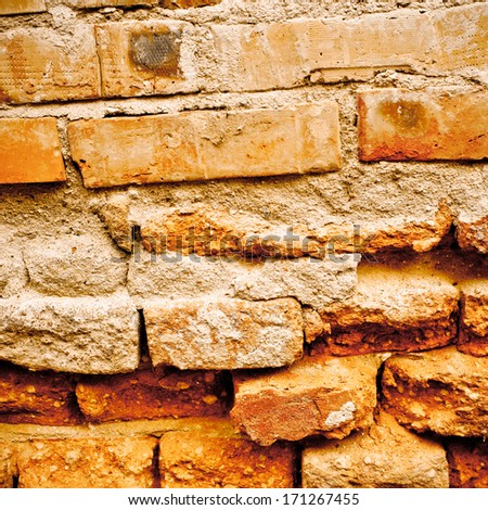 red brick grunge wall for background - stock photo