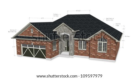 Red Brick House Architecture Construction - stock photo
