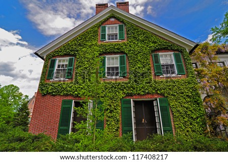 Red Brick House Covered With Green Ivy