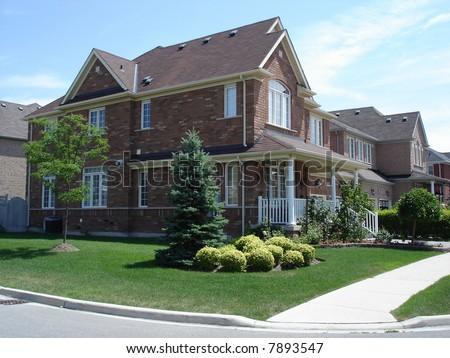 Red brick houses - stock photo