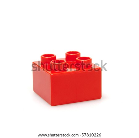 red brick isolated on white - stock photo
