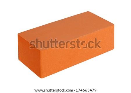 red brick isolated on white background - stock photo