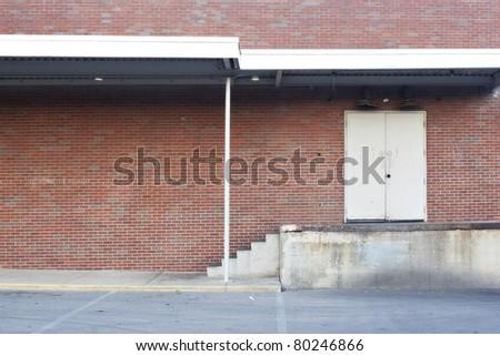 red brick loading dock background - stock photo