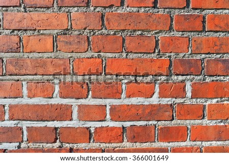 Red brick old grungy wall for background and texture - stock photo