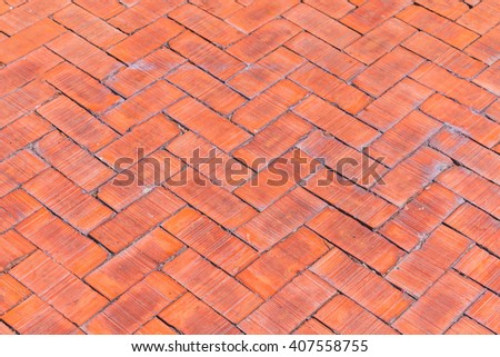 Red brick paving stones background