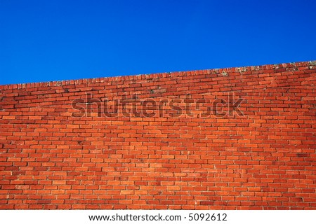 red brick wall against blue sky
