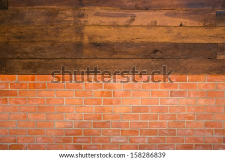 Red brick wall and wood texture. - stock photo