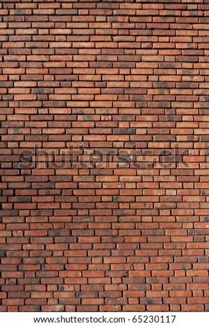 Red Brick wall backdrop. - stock photo