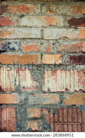 Red brick wall background old red - stock photo