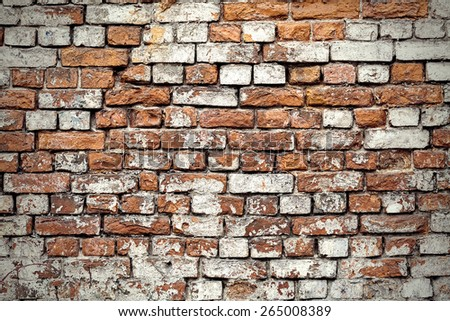 Red Brick Wall Texture Background. Grunge Design Element - stock photo