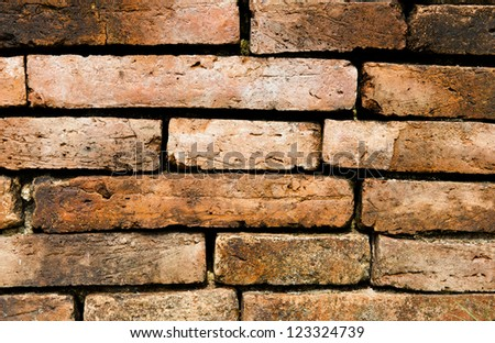 red brick wall texture grunge background - stock photo