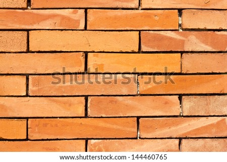 red brick wall texture in horitzontal view