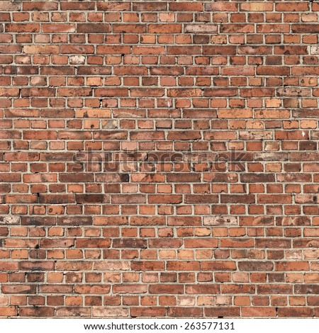 red brick wall texture old grunge background to interior design - stock photo