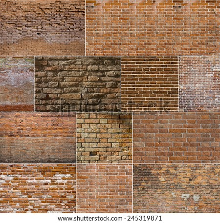 Red brick wall textures collection - stock photo