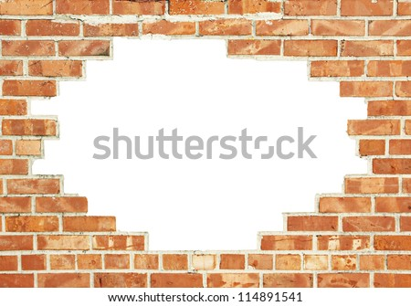 red brick wall with copy space - stock photo